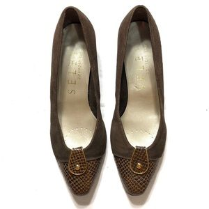Selby Leather Brown Mini Heels